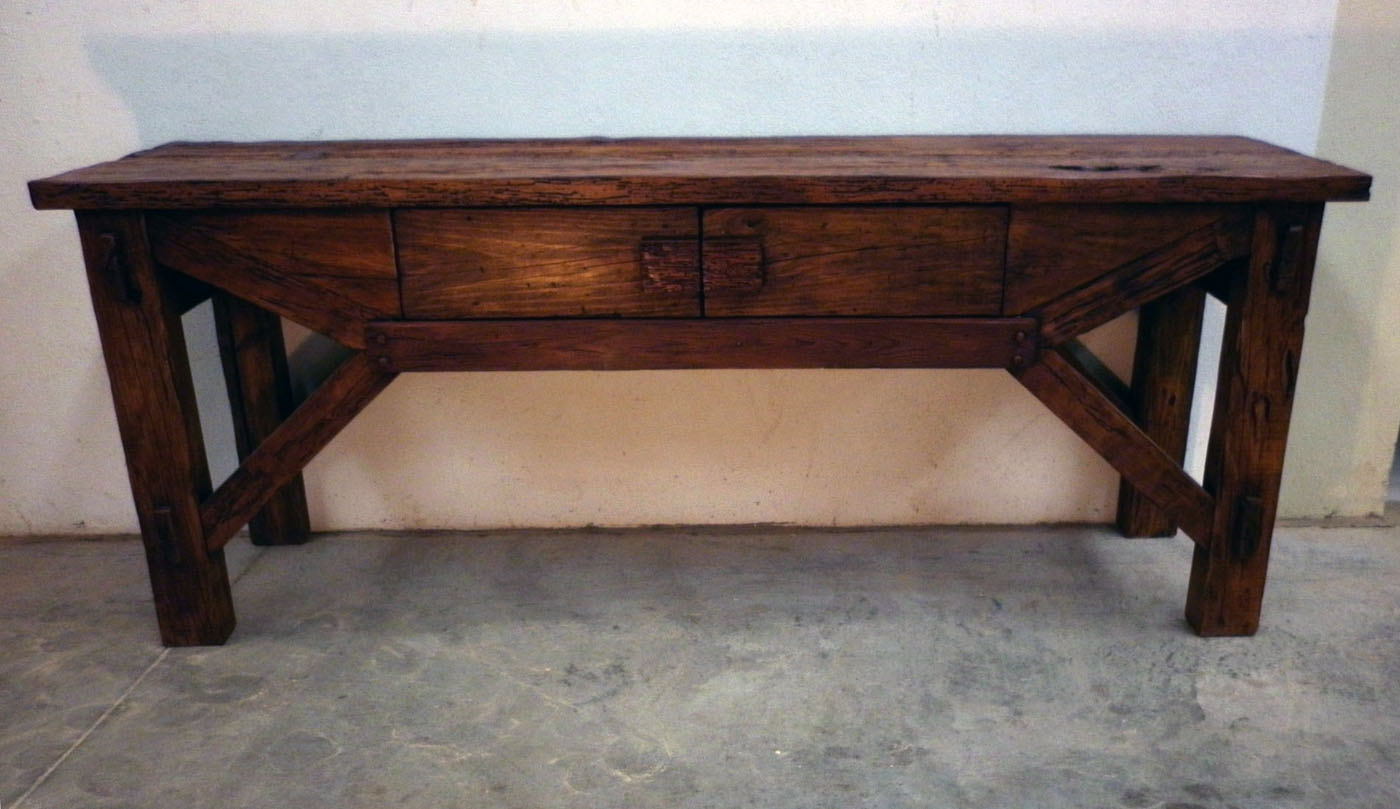 Foreign accents rustic console table