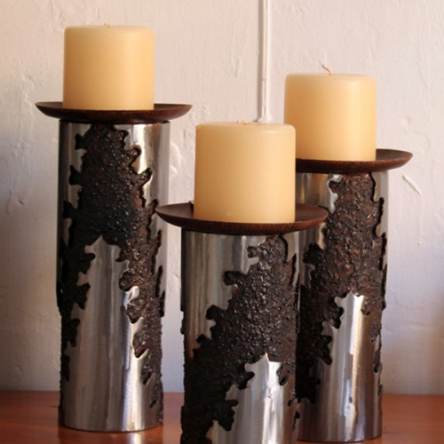 Torched Metal Candleholders