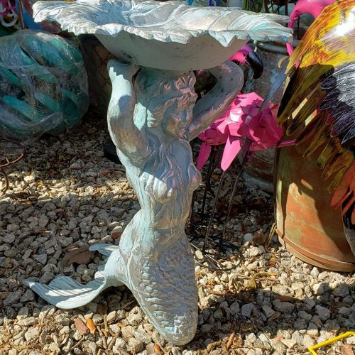 mermaid bird bath aluminum