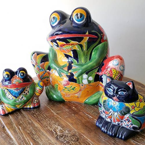 talavera planters frogs and cat