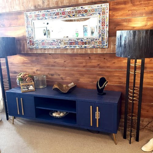 Blue Modern Console with brass