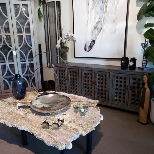stone coffee table and console